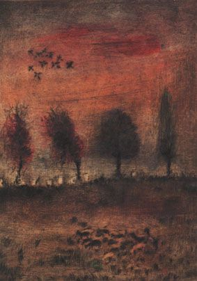 Bohuslav Reynek - The roda with trees (1950's) #graphics #painting #art #Czechia #CzechArt