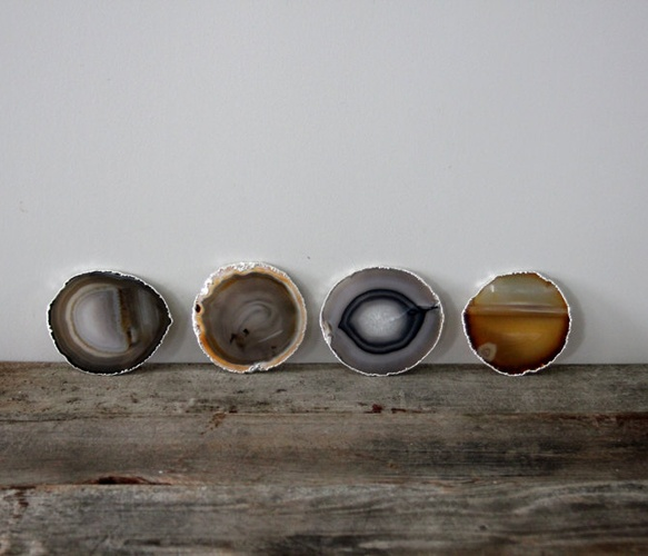 Gold & Silver Agate Coasters  by Heritage 1956