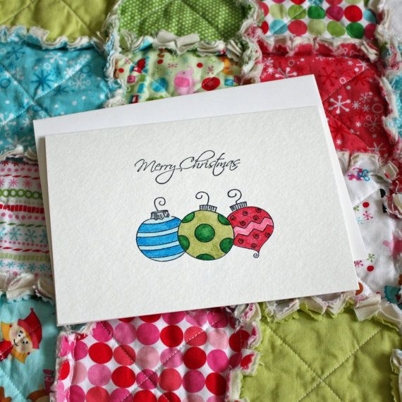 Handpainted Watercolor Christmas Card, Holiday Card, with Ornaments