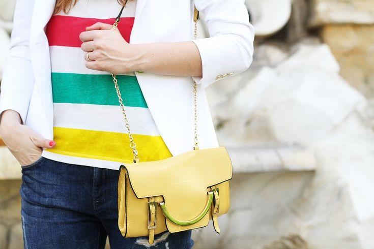yellow coccinelle bag purse!   fashion blogger, fashion blog Irene's closet www.ireneccloset.com