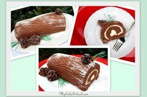 yule-log-cake-free tutorial by My Cake School.com