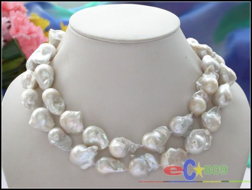 "Huge 34"" 28mm White Baroque Keshi Reborn Pearl Necklace | eBay"
