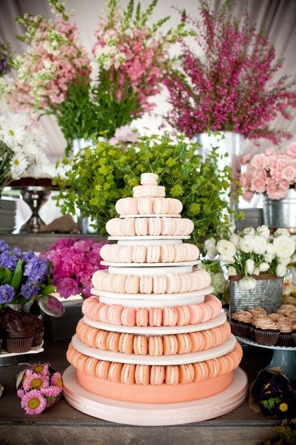 Ombre macaron wedding cake {Photo by Blaine Siesser Photography via Project Wedding}