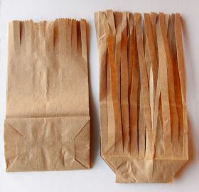 Here are this year's Halloween goodies:  You need two paper bags for each broomstick. I used the small size from Michael's that are about 6...