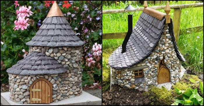 Photos of several Miniature Stone Fairy Houses