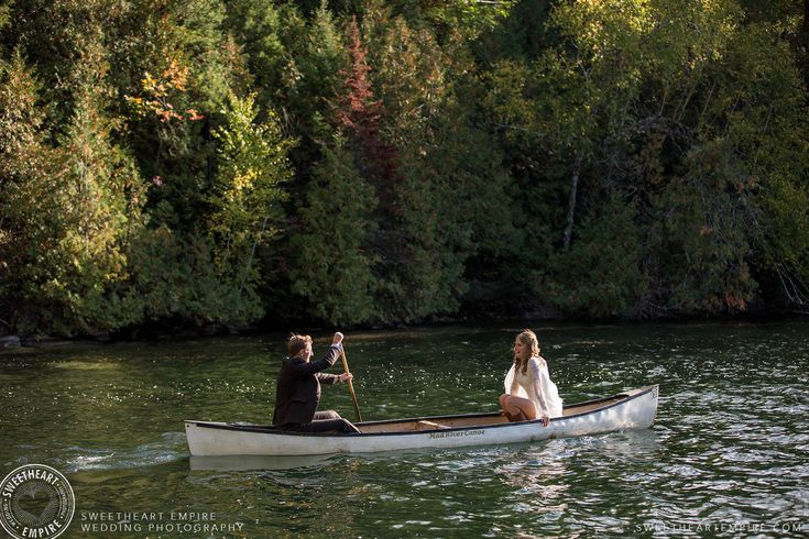 Moments after tying the knot, they paddled their first canoe as husband and wife! #weddingcanoe Gatinuea wedding photographer, cottage weddings #sweetheartempirephotography