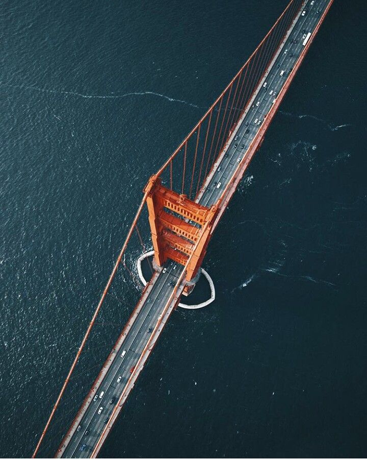 Drone view of the Golden Gate Bridge in San Francisco /// ♥ Repinned by Annie @ www.perfectpostage.com