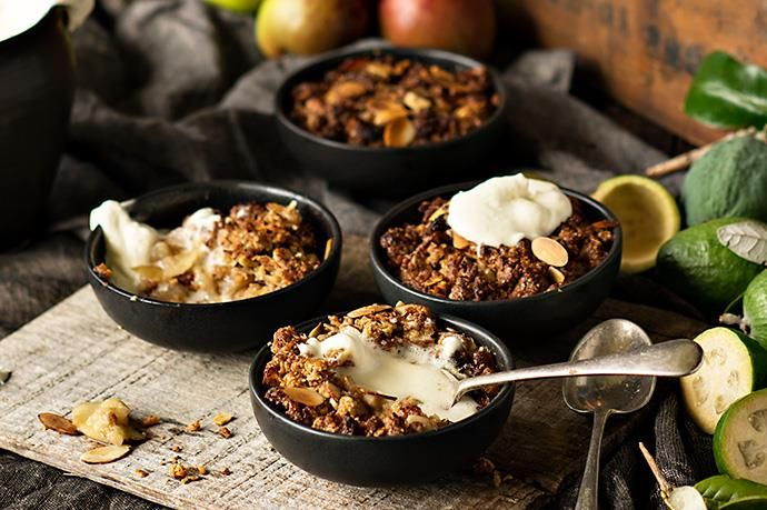Differing from the crumble recipes we all grew up with, this topping is crisp and crunchy with gorgeous caramel notes. As winter progresses, you can mix things up a little by adding pear or frozen berries, for example.