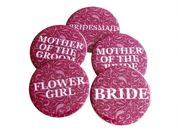 Gorgeous Magenta Floral Badges for the Bridal Party $2.50