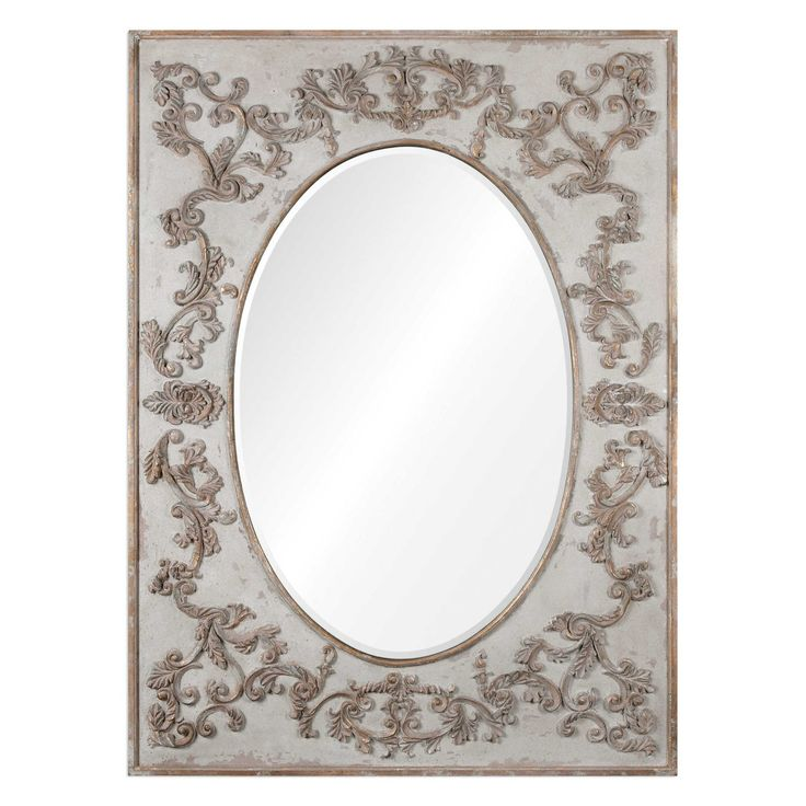 Modena Mirror. Oval Mirrored inlay with rectangle boarder frame. Oversized Frame Finished In Lightly Distressed, Aged Ivory With Gracefully Flowing Vine Details Finished In Antiqued Gold Leaf And A Light Gray Glaze. Mirror Features A Generous 3cm Bevel.  May Be Hung Horizontal Or Vertical.  Designer:Grace Feyock  Dimensions:D:7cm, W:177cm, H:130cm  Weight:43.6kg
