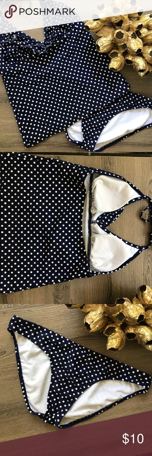 Old navy blue polka dot tankini suit small medium Cute old navy navy blue polka dot tankini. The top is a small with removable padding and the bottoms are a medium. Old Navy Swim Bikinis