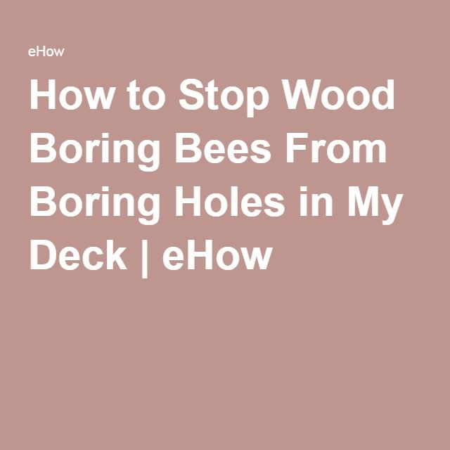 How to Stop Wood Boring Bees From Boring Holes in My Deck | eHow