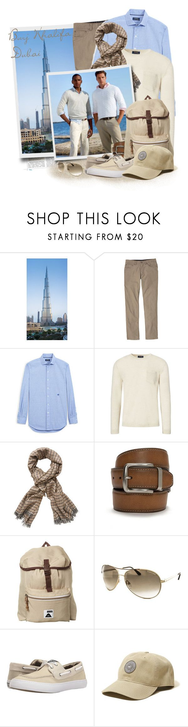 """Burj Khalifa (World's Tallest Building), Dubai,"" by tasha1973 ❤ liked on Polyvore featuring prAna, Ralph Lauren, Tom Ford, Columbia, Poler, Sperry, Hollister Co., men's fashion and menswear"