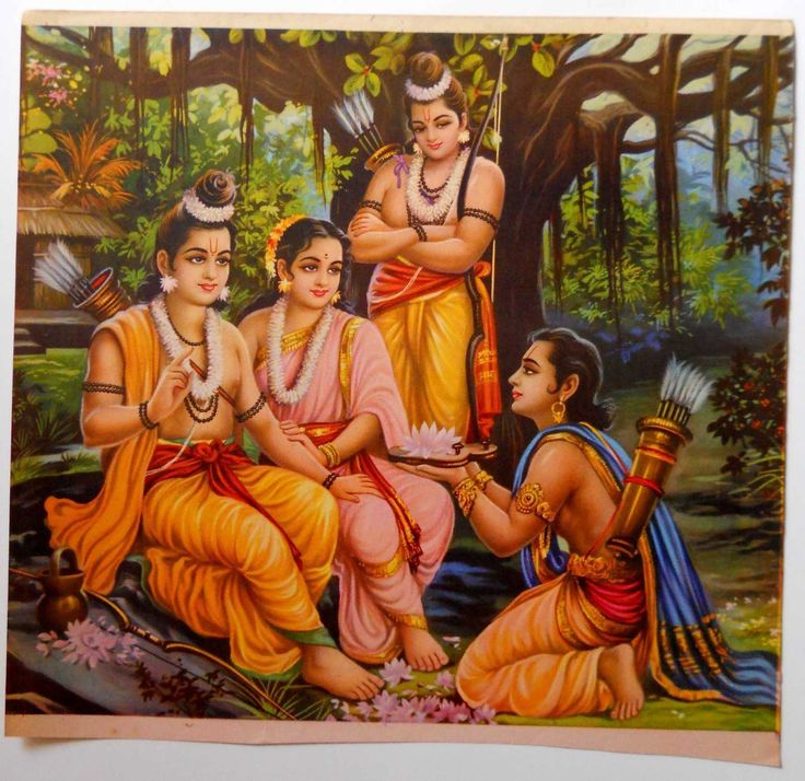Bharat asking Ram to return to Ayodhya and accept his rightful place on the throne. Ram, Sita & Lakshman were sent to live in the forests for 14 years in Bharat's absence, because of Bharat's mother Kaikeyi.