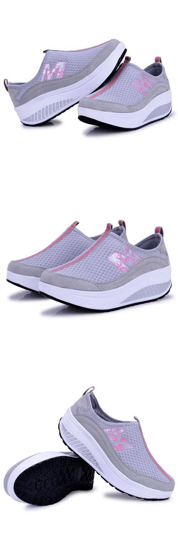 Women's #grey genuine leather rocker bottom shoe #sneakers with M