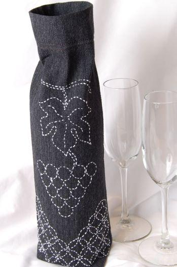 Sashiko Wine Bag Pattern༺✿ƬⱤღ  http://www.pinterest.com/teretegui/✿༻