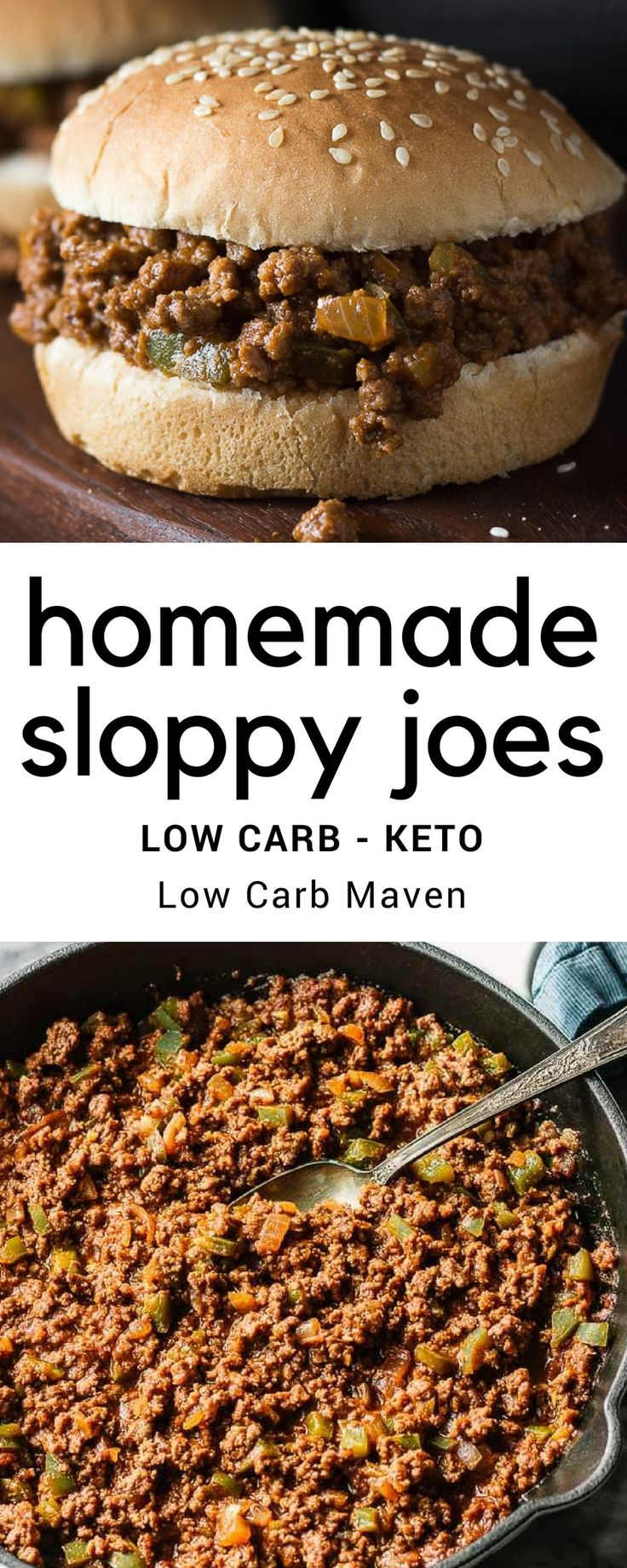 Easy homemade sloppy joes recipe from scratch without ketchup or packers. This recipe is low carb, sugar free and delicious!