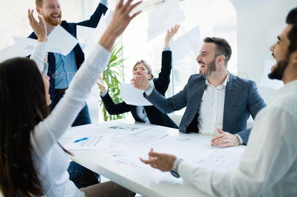 Happy Business People Celebrating Success Celebrating Success