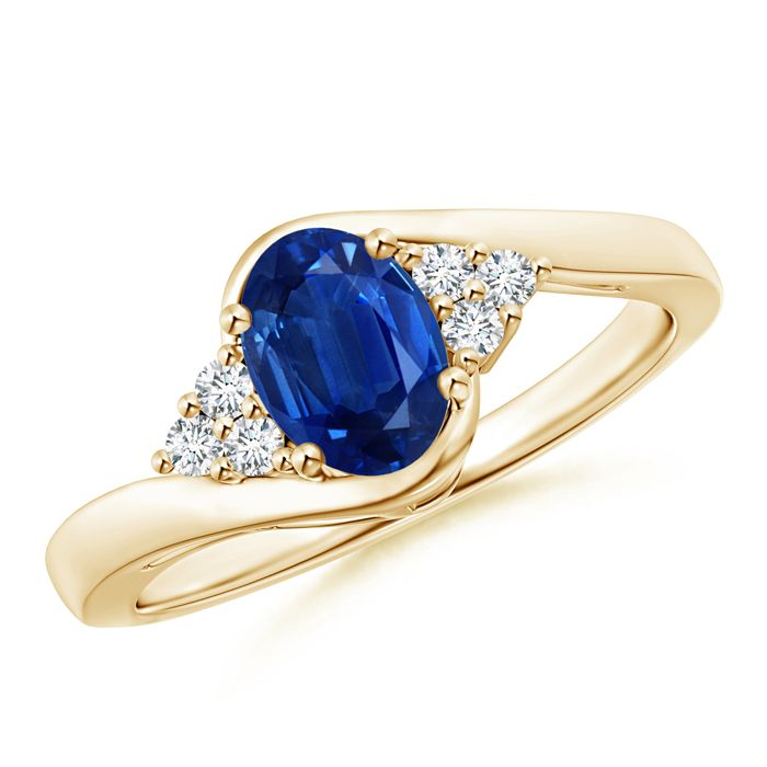 Angara Pear Sapphire Solitaire Ring With Trio Diamond Accents in White Gold i1vmkCUYsT
