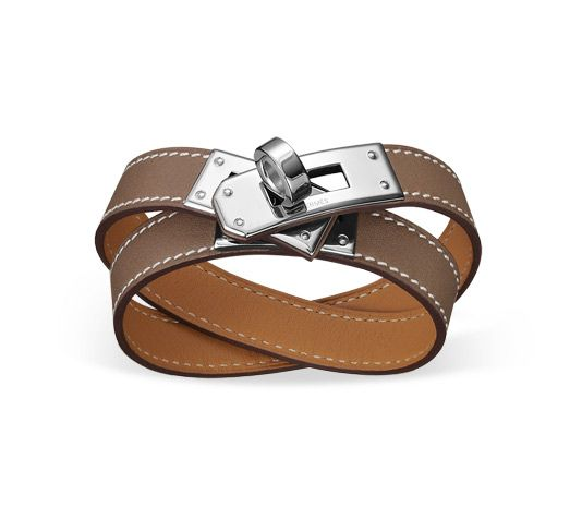"""Kelly Double Tour Hermes leather bracelet (size S) Taupe tadelakt calfskin  Palladium plated, 2.25"""" diameter, 14.5""""long, 0.5""""wide, <6.7"""" circumference. <br><br><span style=""""color: #F60;"""">This item may have a shipping delay of 1-3 days.</span><br><br>"""