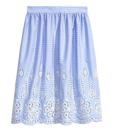 Knee-length skirt | Light blue/Broderie anglaise | LADIES | H&M ZA