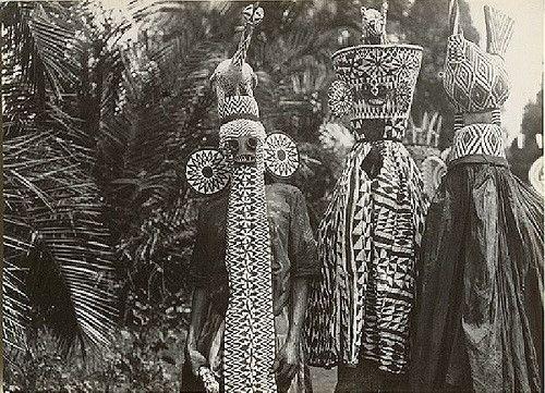 Deze Djoegoes of medicijnmannen uit Benin zijn gekleed in bijzondere kostuums en diermaskers. Een van de medicijnmannen draagt een olifantenmasker. De olifant is bekend om zijn kracht. Door het dragen van dit masker neemt de medicijnman de kracht van dit dier over.
