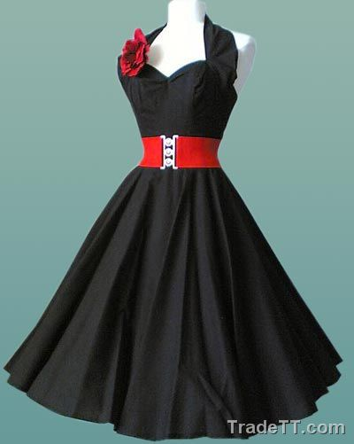 A black rockabilly dress with a red belt and flower