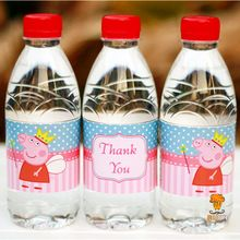 24pcs cartoon Peppa Pig water bottle label Thank You candy bar party decoration kids birthday party supplies baby shower(China (Mainland))
