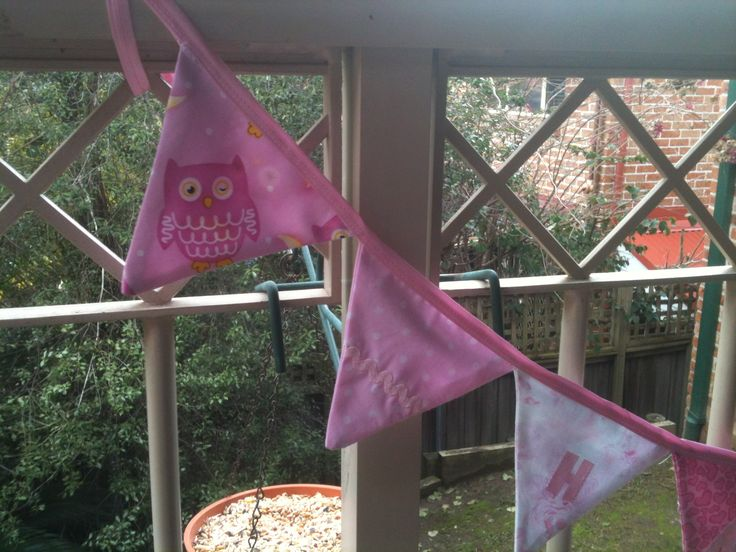 Bunting has 10 flags, 6 of them with the letters of the child's name on - made this one for little grand daughter turning ONE. Fun!