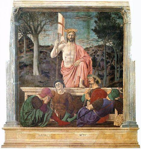 """Ressurreição, pintura do grande mestre renascentista italiano Piero della Francesca, terminado por volta de 1460.   Está alojada no Museo Civico de Sansepolcro (Toscânia), cidade natal do artista.   O tema da imagem faz alusão ao nome da cidade (que significa """"Santo Sepulcro""""), derivada da presença de duas relíquias do Santo Sepulcro, realizado por dois peregrinos no século IX.   Jesus está no centro da composição, retratado no momento de sua ressurreição, como sugerido pela posição do pé no…"""