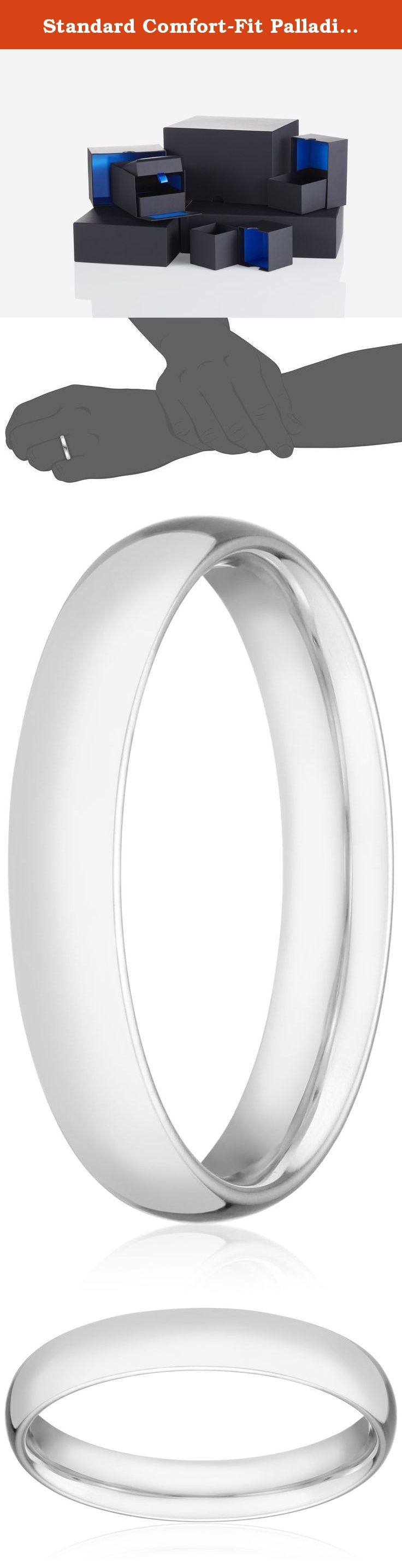 Standard Comfort-Fit Palladium Band, 4mm, Size 11.5. With its sleek metallic design, the Men's Palladium Comfort Fit Wedding Band Ring with Luxury High Polish is a classic piece he will enjoy wearing every day. This ring is 4mm in width and is polished to reveal incredible shine. Embracing comfort-fit design, the band grants relaxing wear from day to night. Crafted out of Palladium, a white precious metal from the platinum group, it is a quality accessory that will last.