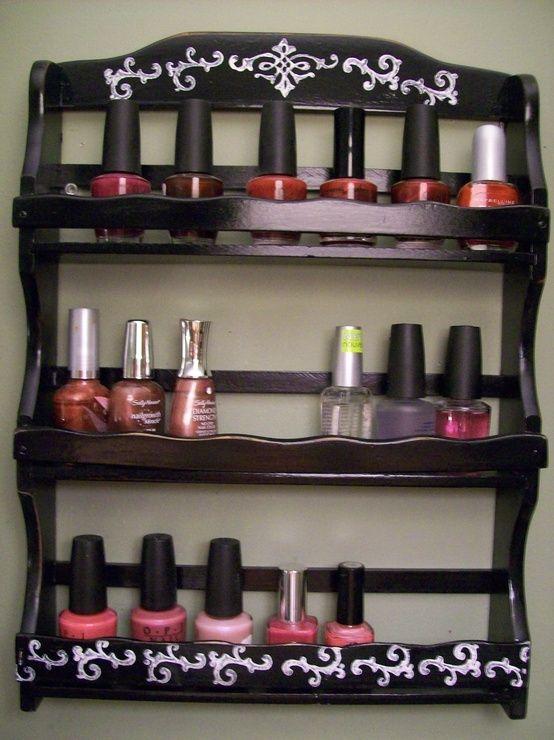 Use a spice rack for nail polish!
