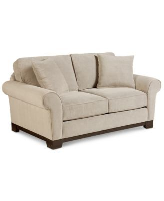 Medland Fabric Roll Arm Loveseat With 2 Pillows Only At