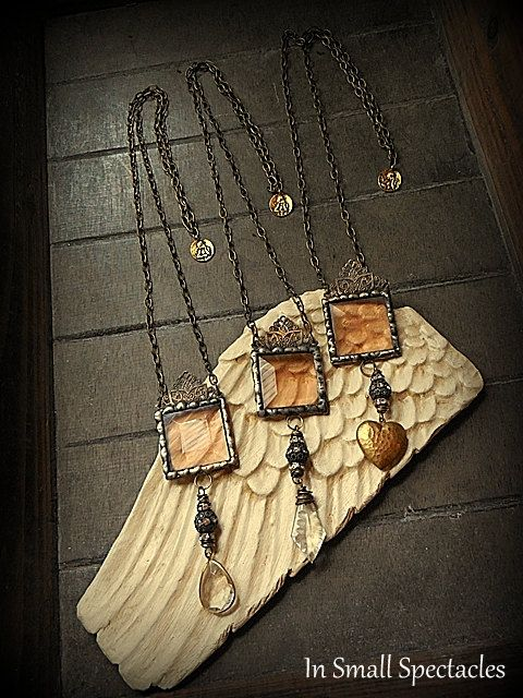 Blush Soldered Glass Necklaces With Vintage Pendants by In Small Spectacles Jewelry