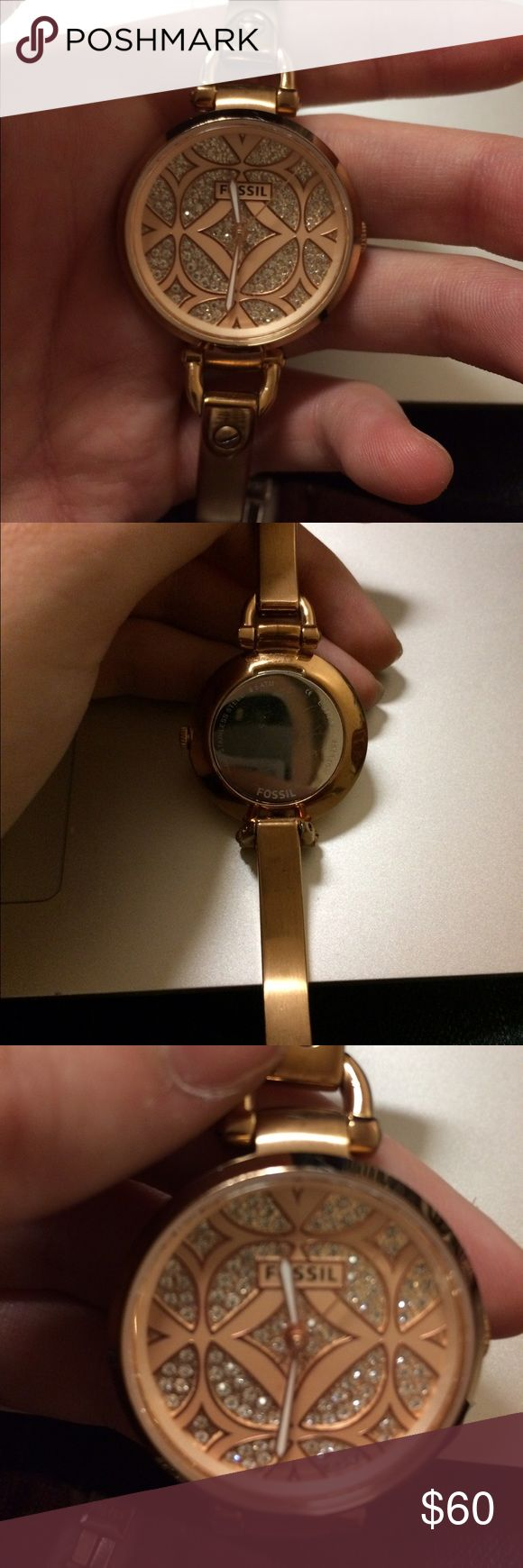 Rose gold fossil watch This watch is no longer sold so great find, it needs repair on the clock itself cuz it doesn't tell time so could just be batteries but who uses this diamond beauty to tell time ;) Fossil Accessories Watches