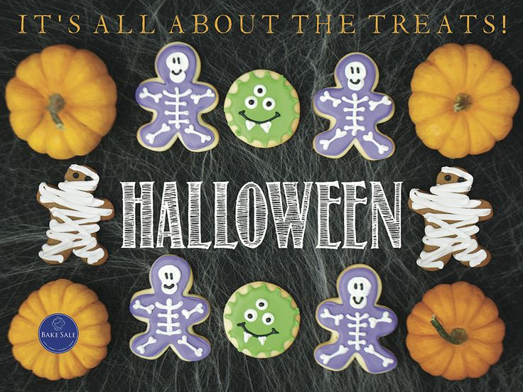 Halloween Poster for Skeleton Sugar Cookies, Monster Sugar Cookies and Mummy Gingerbread. By Bake Sale Toronto.