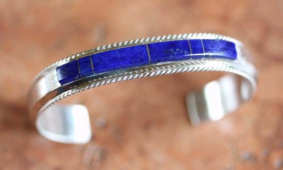 Jewelry Navajo - Navajo Silver Lapis Bracelet by F Yazzie