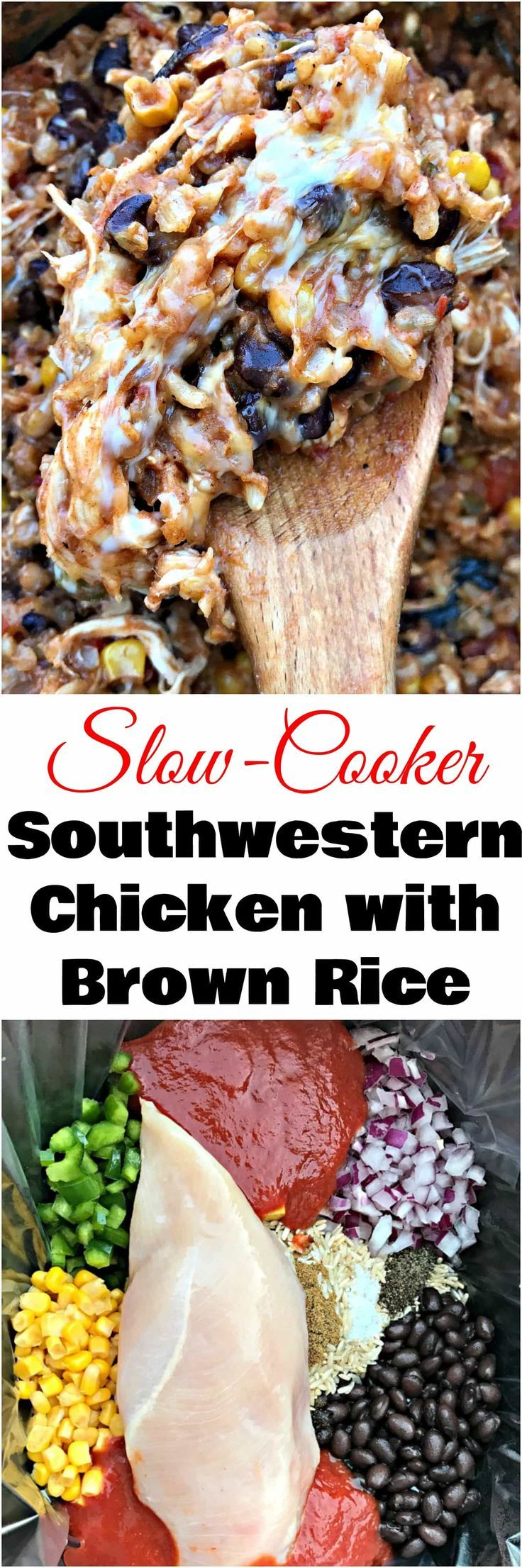 Slow-Cooker Crockpot Southwestern Chicken and Brown Rice is a quick and easy recipe with chicken, rice, and creamy cheese.