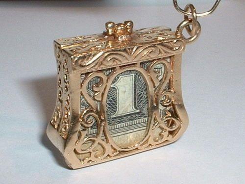 Vintage 14k Yellow Gold Emergency Mad Money Purse Pendant