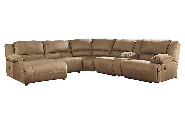 Tan leather sectional couch with chaise lounge for your living room design View 2