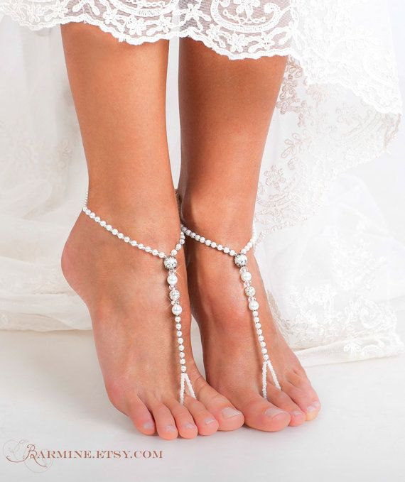 Beaded Barefoot sandals-Bridal jewelry-Filigree by barmine on Etsy