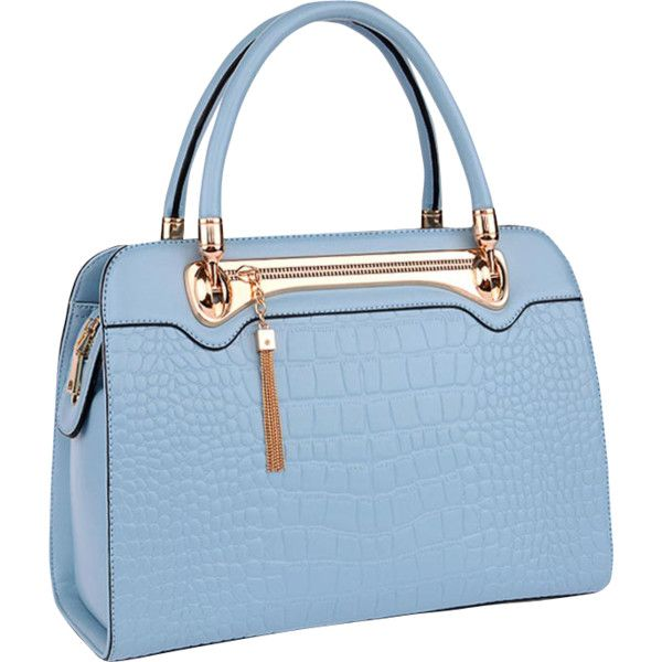 Relaxfeel Women's Classic Blue Dermis Totes Bag Black ($66) ❤ liked on Polyvore featuring bags, handbags, light blue, blue black handbag, blue purse, blue handbags, black handbags and light blue purse