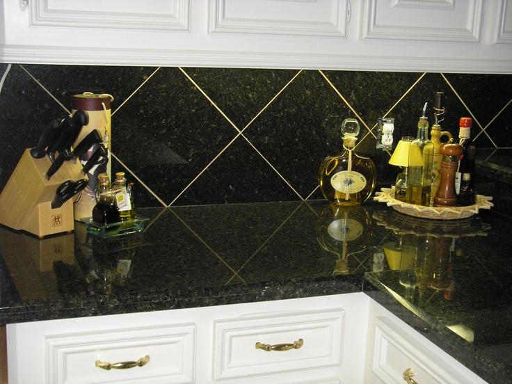 12x12 Granite Diagonal Tile On Backsplash