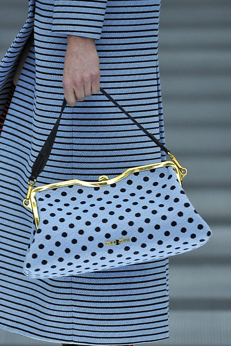 Polka-dot bag at Miu Miu Fall / Winter 13.14, Paris Good marriage of patterns: stripe and polka-dot