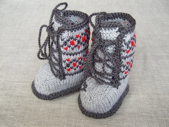 knitted baby booties-baby grey boots
