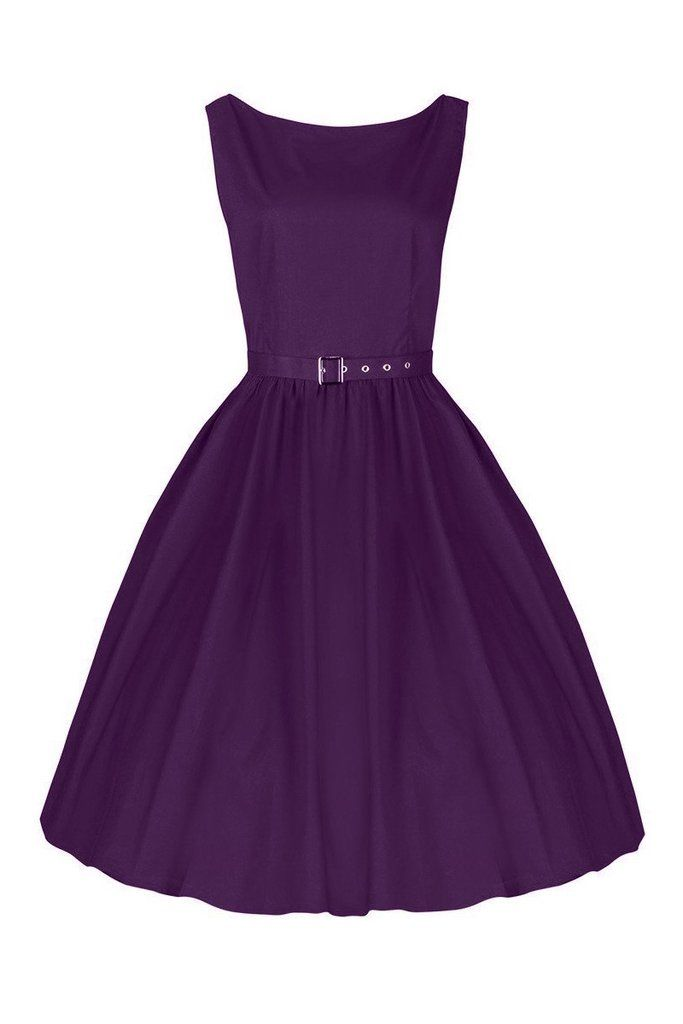 Pretty Kitty Purple Cotton Audrey Dress