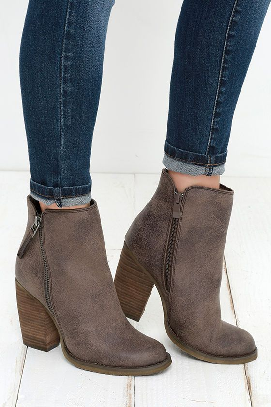 """Despite its name, you can't beat the Sbicca Percussion Taupe High Heel Booties! These adorable ankle boots are true winners with a tumbled faux leather upper, almond toe, and gunmetal zipper decorating the outstep. A notched 5.5"""" shaft includes a working zipper at the instep."""