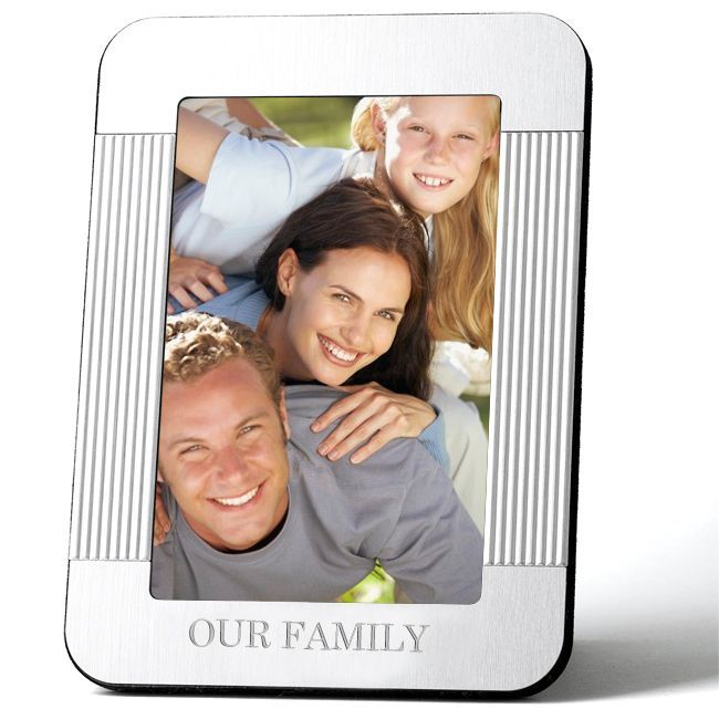 """3.5"""" x 5"""" Engraved Picture Frame (Fixed Message """"our Family""""), Silver, Size 3x5 (Brass)"""
