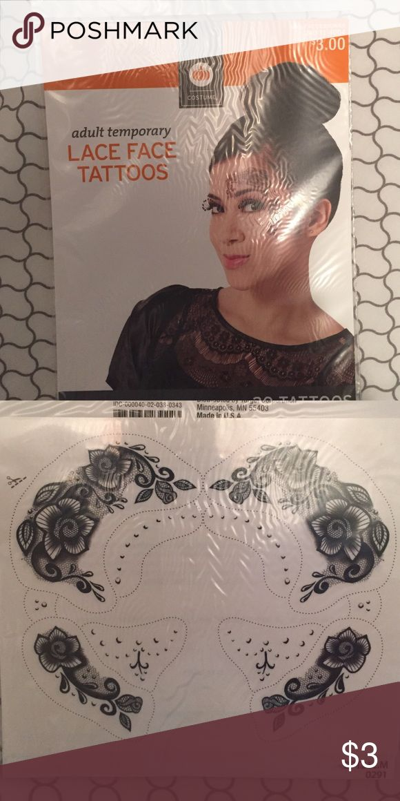 Lace Face Tattoos Costume Temporary Face Tattoos.  Package never opened, includes 20 different tattoos. Other