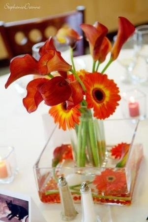 Flowers, Reception, Centerpiece, Vase glass, Vase cube, Flower calla, Vendor vibride, Flower gerbera, Color orange